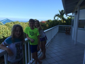Harper, Cole, and Madda  on the lanai.