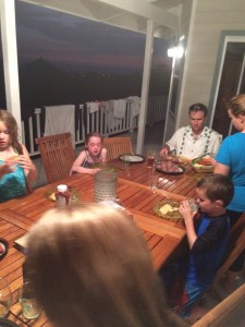 The families at dinner