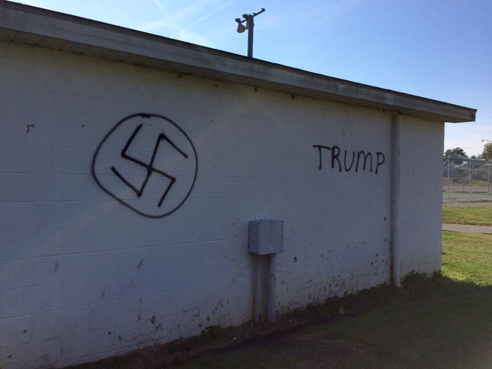 Graffiti spray painted at the city pool in Tell City, Indiana